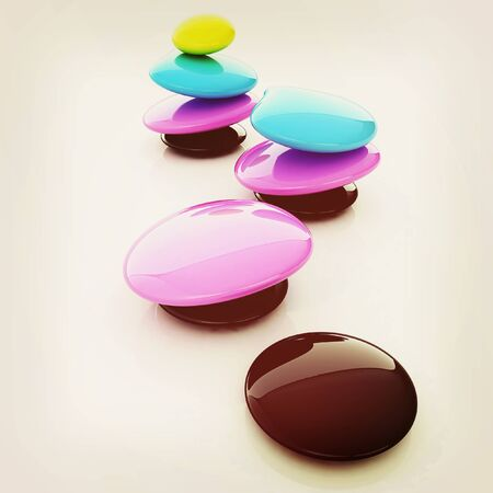 mode: Colorfull spa stones. 3d icon. 3D illustration. Vintage style. Stock Photo