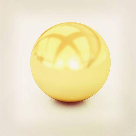 render 3d: Gold Ball 3d render . 3D illustration. Vintage style. Stock Photo