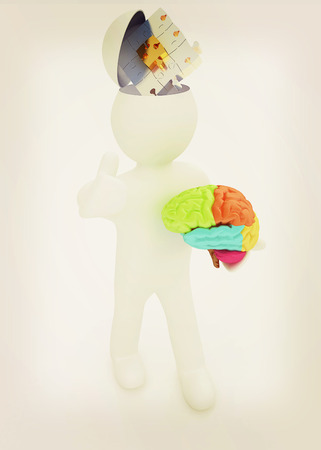 3d people - man with half head, brain and trumb up. Idea concept with puzzle. 3D illustration. Vintage style. Stock Photo