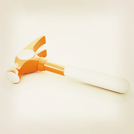 apalancamiento: Hammer on white background . 3D illustration. Vintage style.