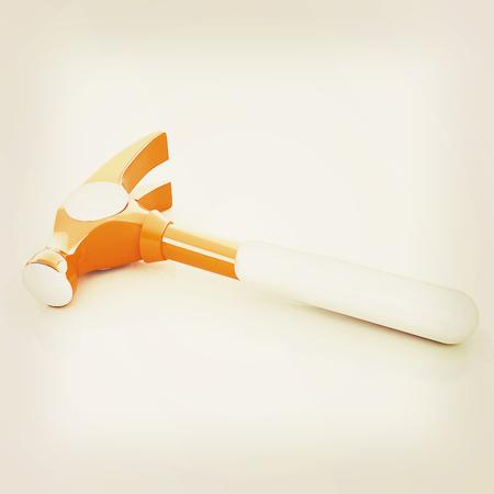 Hammer on white background . 3D illustration. Vintage style.