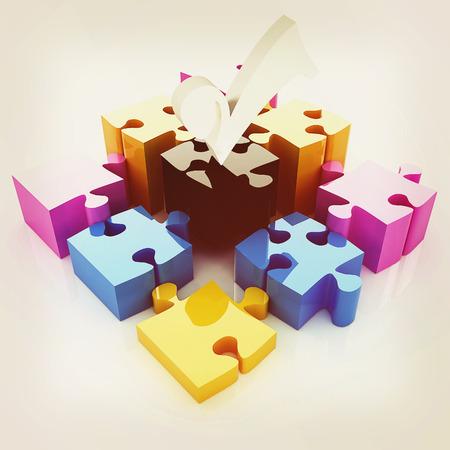 four elements: Puzzle of the four elements. Conceptual image - a palette CMYK. 3D illustration. Vintage style.