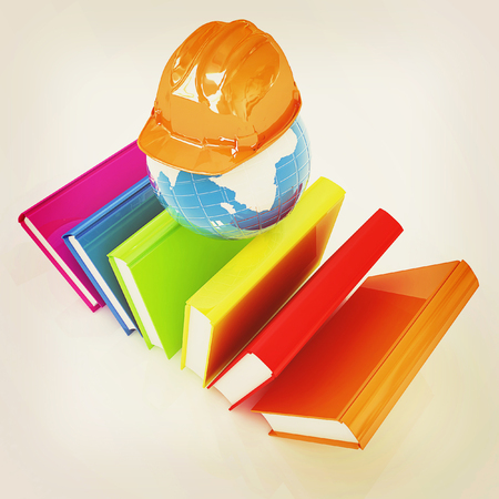 working on school project: Global technical education on a white background. 3D illustration. Vintage style.