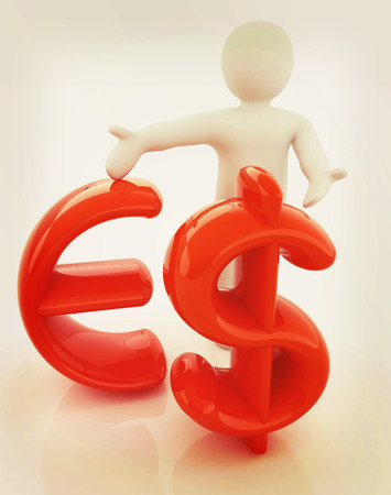 3d people - man, person presenting - dollar and euro sign. 3D illustration. Vintage style.