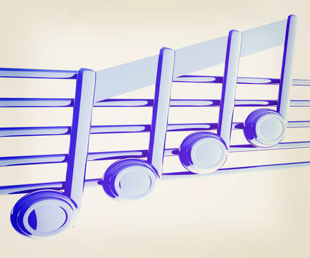 3d music: 3D music note on stave on a white . 3D illustration. Vintage style.
