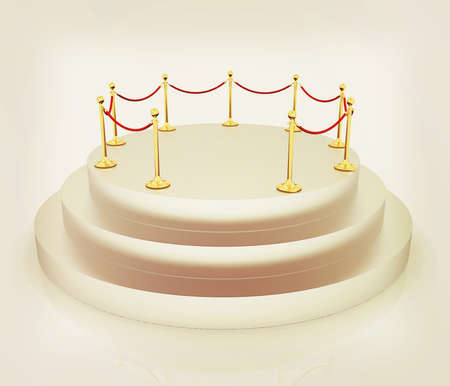 stanchion: podium 3d. 3D illustration. Vintage style. Stock Photo