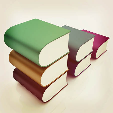 bookshop: Glossy Books Icon isolated on a white background. 3D illustration. Vintage style. Stock Photo