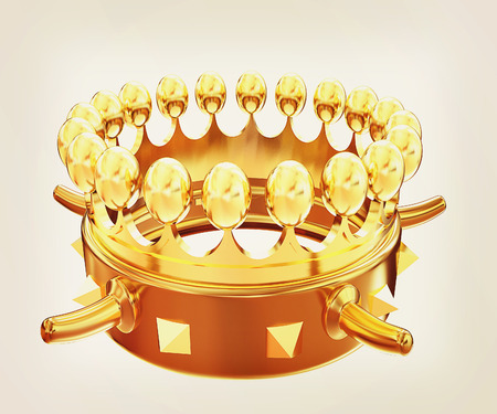 luxuriance: Gold crown isolated on white background . 3D illustration. Vintage style.