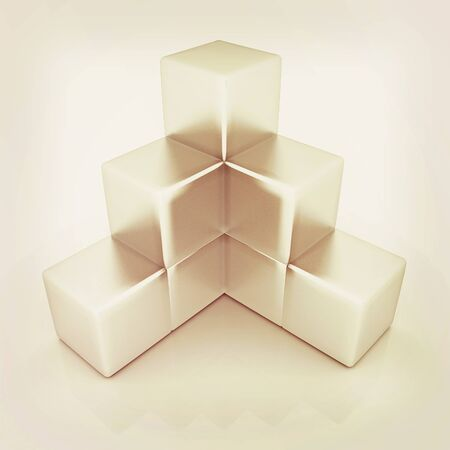 Metall block diagram. 3D illustration. Vintage style.