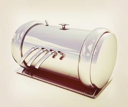 3d Abstract chrome metal pressure vessel. 3D illustration. Vintage style.