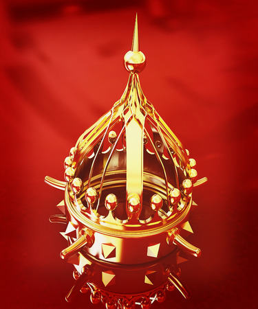 jeweled: Gold crown isolated on red background . 3D illustration. Vintage style.