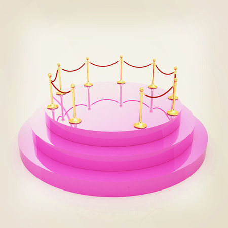 stanchion: 3D podium with gold handrail . 3D illustration. Vintage style. Stock Photo