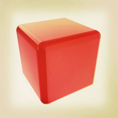 technology symbols metaphors: Icon, glossy red cube, abstract symbol. 3D illustration. Vintage style.