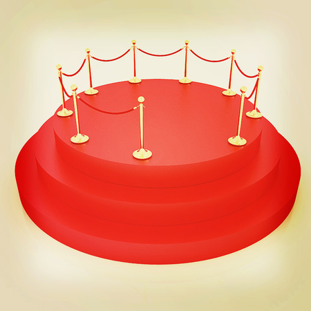stanchion: 3D carpeting podium with gold handrail. 3D illustration. Vintage style.