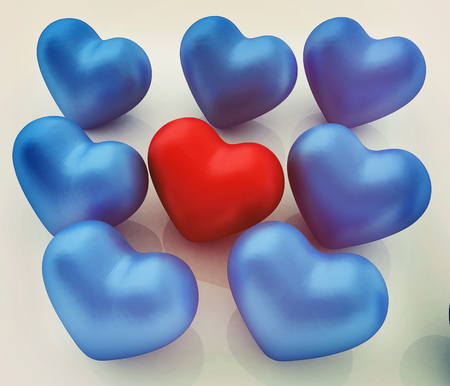 One red heart standing out in crowd . 3D illustration. Vintage style. Stock Photo