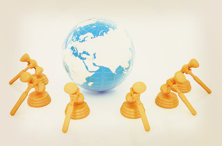 barrister: Wooden gavel and earth isolated on white background. Global auction concept. 3D illustration. Vintage style.