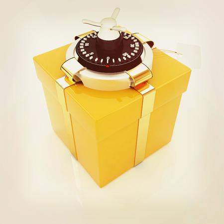 safe - gift. 3D illustration. Vintage style. Stock Illustration - 60843283
