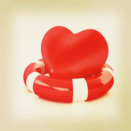 salvavidas: Corazón y correa de vida. Concepto de salvar la vida. Ilustración 3D. Estilo vintage. Foto de archivo