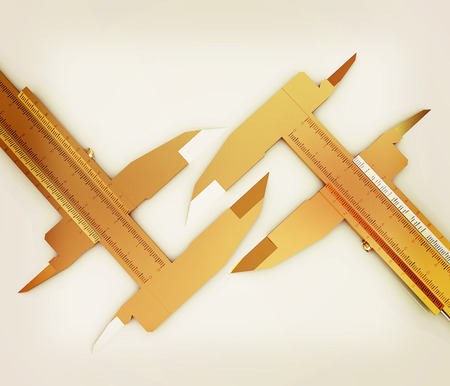 trammel: Calipers on a white background. 3D illustration. Vintage style.