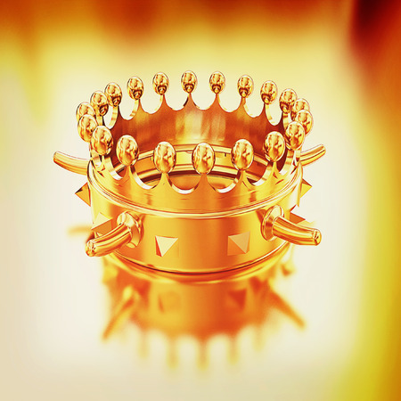 luxuriance: Gold crown isolated on gold background . 3D illustration. Vintage style.