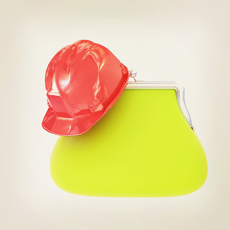 hard hat on purse. 3D illustration. Vintage style. Stock Photo