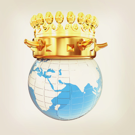 gold earth: Gold crown on earth isolated on white background . 3D illustration. Vintage style. Stock Photo