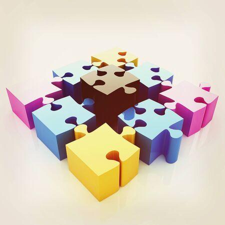 cuatro elementos: Puzzle de los cuatro elementos. La imagen conceptual - una paleta CMYK. Ilustración 3D. Estilo vintage.