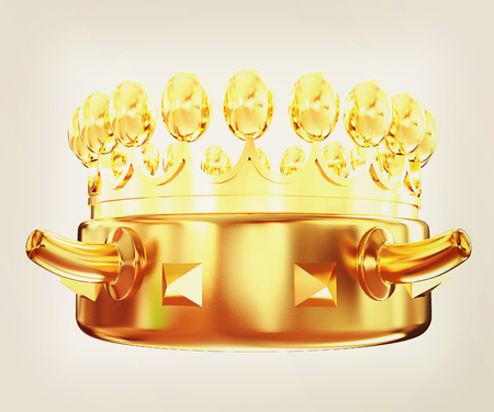 jeweled: Gold crown isolated on white background . 3D illustration. Vintage style.