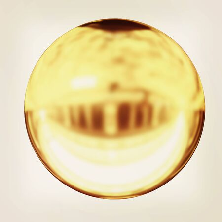 gold  ball: Gold Ball 3d render . 3D illustration. Vintage style. Stock Photo