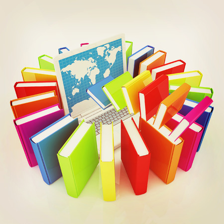 libros volando: libros de colores que vuelan y un ordenador port�til sobre un fondo blanco. Ilustraci�n 3D. Estilo vintage.