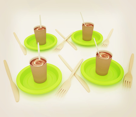 Coffe in fast-food disposable tableware. 3D illustration. Vintage style.