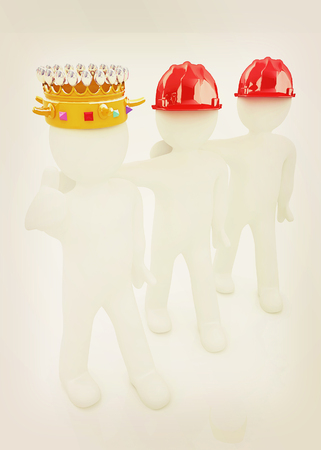 luxuriance: 3d people - man, person with a golden crown. King with person with a hard hat. 3D illustration. Vintage style. Stock Photo