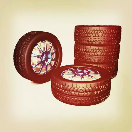 flaring: car wheel illustration on white background. 3D illustration. Vintage style. Stock Photo