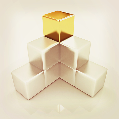 colorful block diagram with one individual gold cube top. 3D illustration. Vintage style. Stock Photo