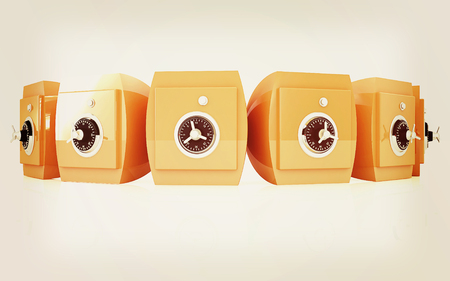 checkroom: Several safes. 3D illustration. Vintage style.