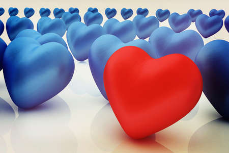 individualist: One red heart standing out in crowd . 3D illustration. Vintage style. Stock Photo