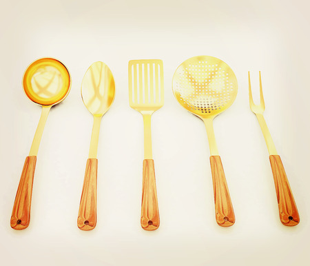 sizzle: gold cutlery on white background . 3D illustration. Vintage style.