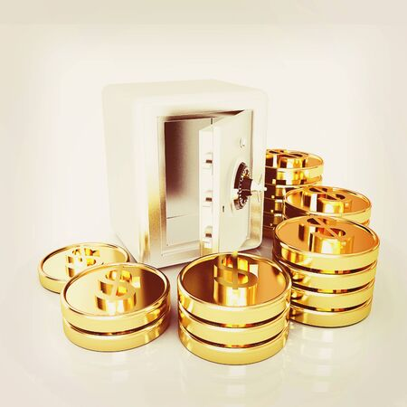 bank vault: open a bank vault with a bunch of gold coins. isolated on white. . 3D illustration. Vintage style.