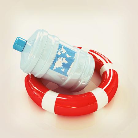 botle: botle on lifeboy. 3D illustration. Vintage style.