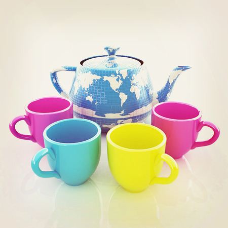 globally: colorfull cups and teapot for earth. Globally. Drink for the entire planet.Concept of communication. 3D illustration. Vintage style. Stock Photo