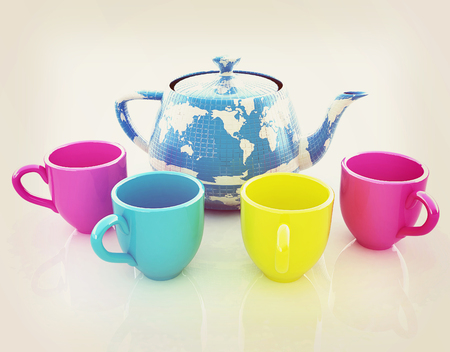 colorfull cups and teapot for earth. Globally. Drink for the entire planet.Concept of communication. 3D illustration. Vintage style. Stock Photo