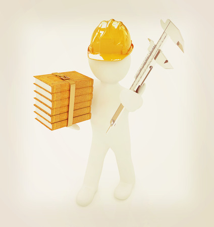 trammel: 3d man engineer in hard hat with vernier caliper and best technical educational literature on a white background. 3D illustration. Vintage style. Stock Photo