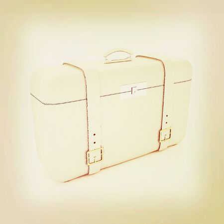 clear skin: travelers suitcase . 3D illustration. Vintage style.