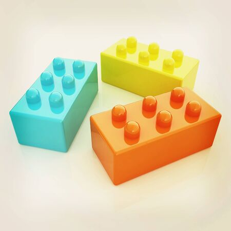 Building blocks on white . 3D illustration. Vintage style.