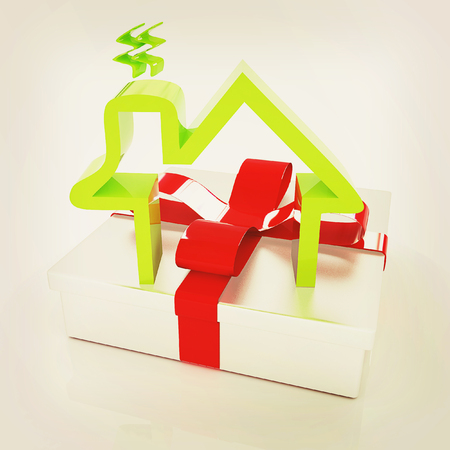 House icon and gift. 3D illustration. Vintage style. Stock Photo
