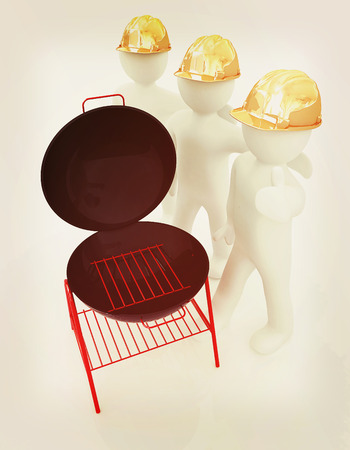 3d mans in a hard hat with thumb up and barbecue grill. On a white background . 3D illustration. Vintage style.