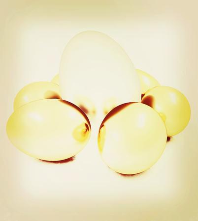 Big egg and gold eggs. 3D illustration. Vintage style.