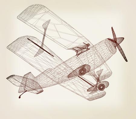 retro airplane isolated on white background . 3D illustration. Vintage style. Stock Photo