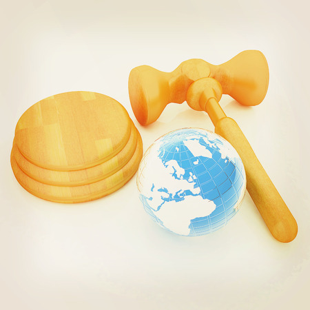 Wooden gavel and earth isolated on white background. Global auction concept. 3D illustration. Vintage style.