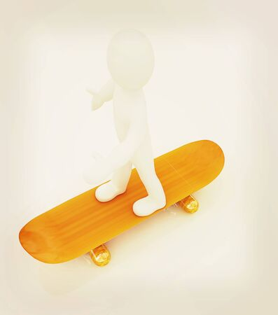 3d white person with a skate and a cap. 3d image on a white background. 3D illustration. Vintage style. Stock Photo